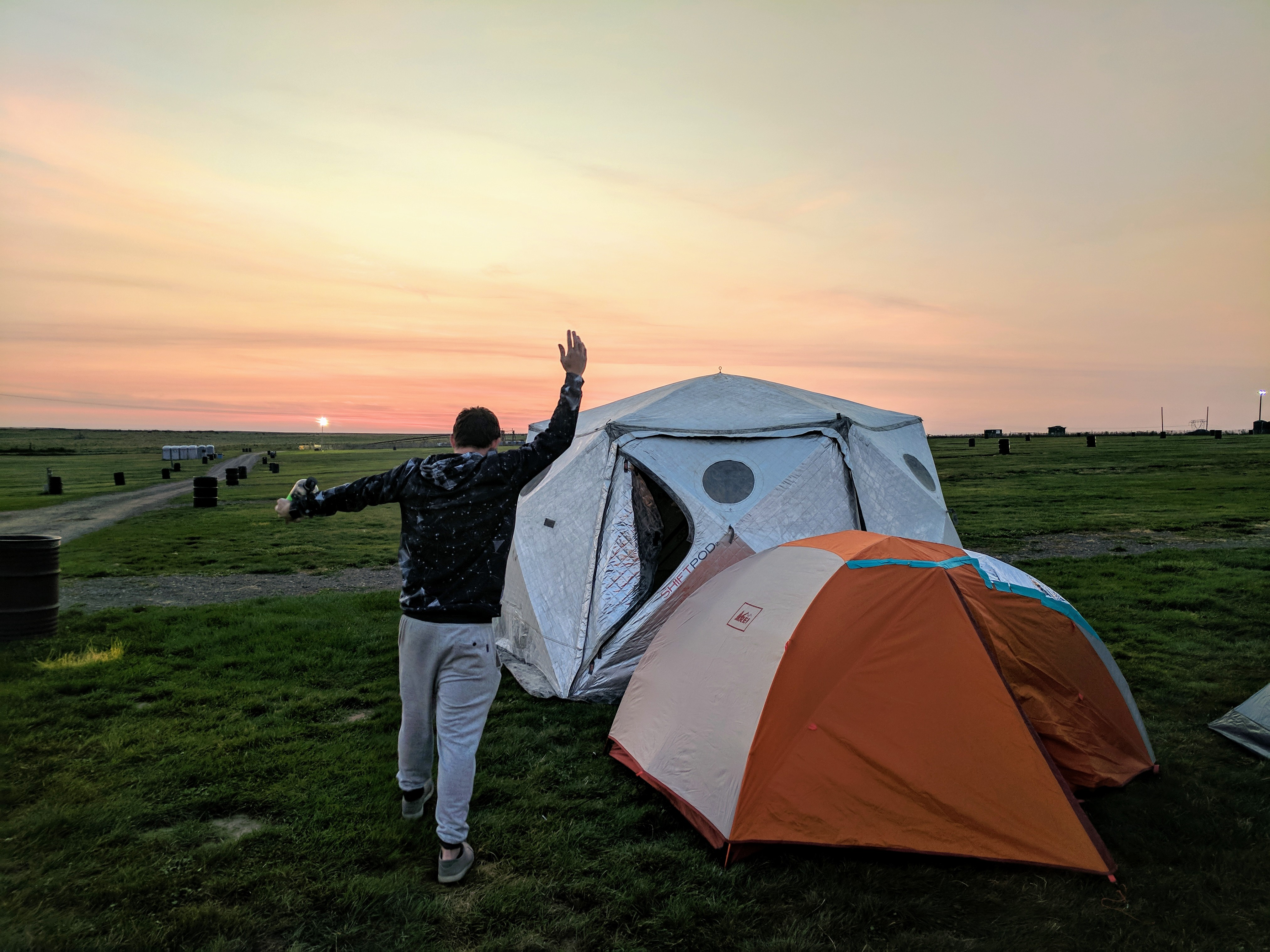 Pitching our tents as the sun rose on ABGT250